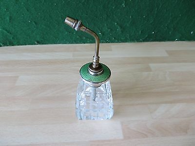 Vintage Cut Glass Scent/Perfume Bottle, Stirling Silver & Guilloche Enameled Top