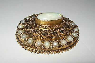 Vintage Victorian Filigree Brooch with Opal and Pearls
