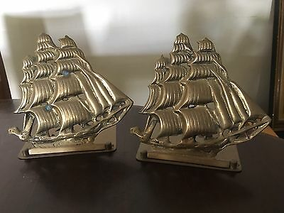 Vintage Brass Ship Bookends C1970's
