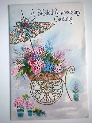 "Carlton Cards ~ VINTAGE GLITTERY ""A BELATED ANNIVERSARY GREETING"" GREETING CARD"