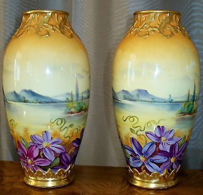 Antique Matching Mehlem (Royal Bonn) Vases circa 1900
