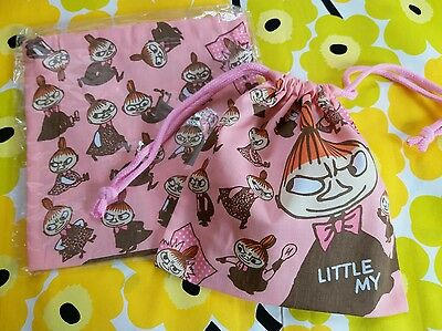 Moomin Valley Character Little MY Cotton Pink Multi use Drawstring Pouch