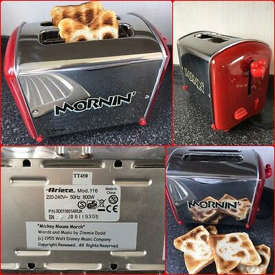 Disney Mickey Mouse Musical Mornin Toaster By Ariete Chrome and Red.