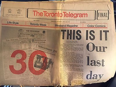 The Toronto Telegram, Last Official Newspaper, 1971, Press, Collector, Final