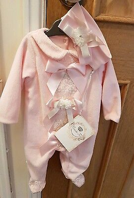Couche Tot Pink Sleepsuit Outfit Set Headband Baby Girls Spanish 0-3 3-6