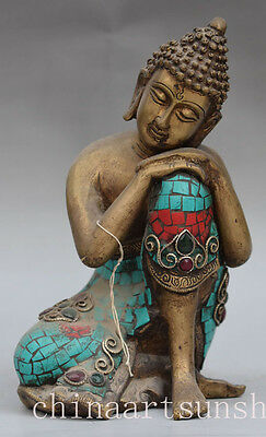 Exquisite China Hand Carved Bronze Series Turquoise Sleep Buddha Statue Decorati