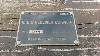 WW2  BC-348-R receiver original Front panel Name / ID plate