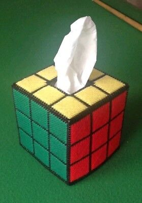 SOLVED Rubik's Cube tissue box cover, plastic canvas, free box of tissues, Rubix
