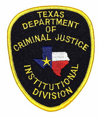 TEXAS - DEPT CRIMINAL JUSTICE - TX Sheriff Police Patch INSTITUTIONAL DIVISION ~