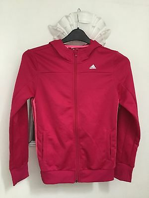girls pink adidas tracksuit hooded top size 13/14 yrs