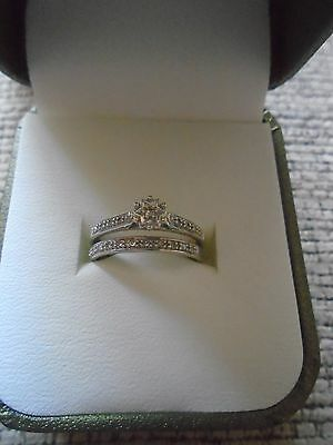 Pretty Wedding Ring Set In 9K White Gold With Diamond Size M