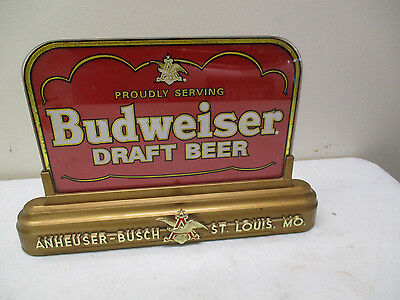 Proudly Serving Budweiser Draft Beer- Lighted Sign-Red and Gold