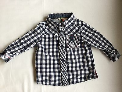 Boys John Lewis Shirt 6-9 Months Blue White Checked Pattern