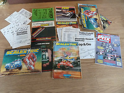 Scalextric UK + Spanish Catalogues & 1988 NSCC Newsletters x 15 & TCR Lot