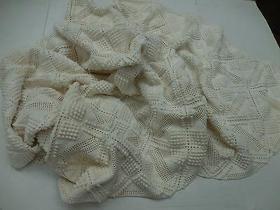Vintage French Crocheted Bed Coverlet Throw Multi Use Lovely Design