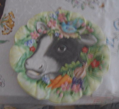 Fitz and Floyd Country Class Ceramic Cow Plate
