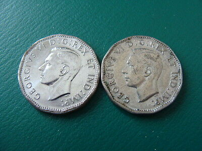 """Canada 5 Cents Torch On """"v"""" Lot Of Two 1945"""