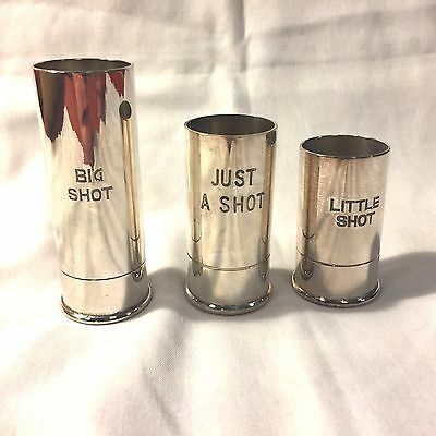 Vintage Novelty Set Of 3 Artillery Shell Shot Glasses 1oz 1.5oz & 2oz