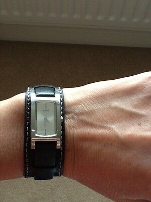 Ladies GUESS watch -silver face and black leather strap