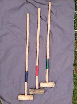 3 Croquet Mallets Old Used Set Of 3 Fast Post