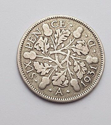 Dated : 1931 - Silver - Sixpence / 6d - Coin - King George V - Great Britain