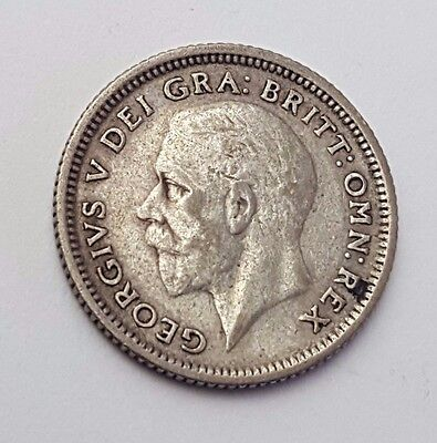 Dated : 1926 - Silver - Sixpence / 6d - Coin - King George V - Great Britain