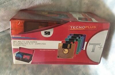 "New Technoplus 50 X Multi Coloured PC Formatted 3.5"" Computer Discs Floppy Disks"