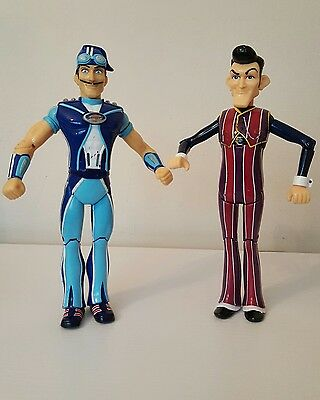 2 Lazy Town Movable  Figures, Sportacus & Robbie Rotten
