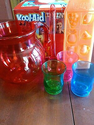 Kool-Aid Drink Set Pitcher and 3 cups w/ Box ~ Spoon Ice cube tray by BradShaw