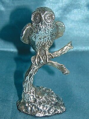 Stunning White Metal Sculpture - Miniature - Owl on Tree - Amazing Fine Detail