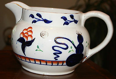 VINTAGE - LARGE GAUDY POTTERY JUG. Unusual design with drug bubble pipe