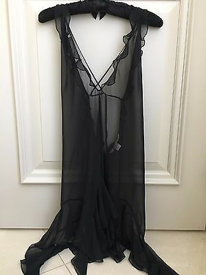 Victoria's Secret Black Sheer Chiffon Camisole  Adjustable - size L UEC