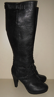 New Look Ladies Black Leather Style Zip Up Knee High Boots Size UK 8W Heel 4 in
