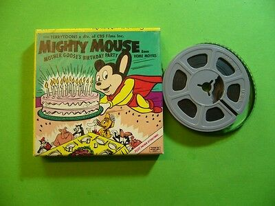 112K02 VINTAGE 8MM TERRYTOONS MIGHTY MOUSE in MOTHER GOOSE'S BIRTHDAY PARTY