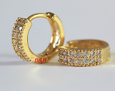 14mm 18k Yellow Gold Filled Real 925 Silver Round Cubic Zirconia Hoop Earrings