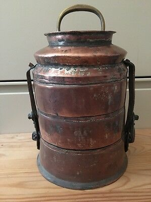 Turkish Ottoman Anatolian Traditional Copper Luch Pail , Antique,hand Forged