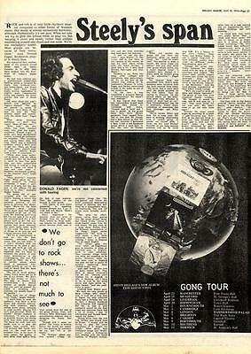 Steely Dan Steely's Span MM5 Interview Gong Tour advert 1975