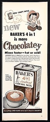 1952 Vintage Print Ad 1950s BAKER'S Cocoa Mix Hot Chocolate Drink Illustration