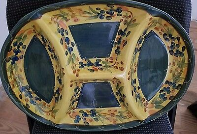 Table Tops Gallery French Provencial 4 serving chip and dip platter