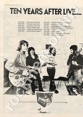Ten Years After Live CTY 1049 Hastings Pier Pavillion MM3 LP/Tour advert 1973