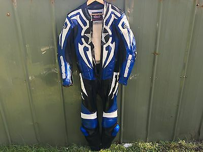 Hein Gericke Motorcycle leathers, 1 piece, Full suit, Blue uk size 32