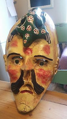 Vintage/Antique wooden Mexican Dance Mask - Moor & Christian - Mexican Folk Art