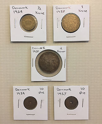 LOT EARLY 20th CENTURY DENMARK KRONE / ORE COINS (1924 - 1938)