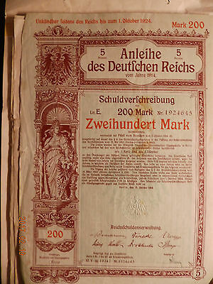 Anleihe des Deutschen Reiches 1914 200 Mark Bond of the german Reich state loan