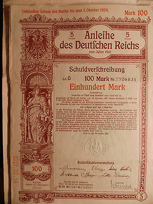 Anleihe des Deutschen Reiches 1916 100 Mark Bond of the german Reich state loan,