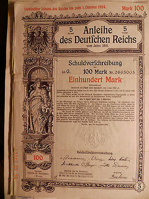 Anleihe des Deutschen Reiches 1915 100 Mark Bond of the german Reich state loan,