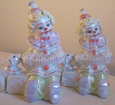 "2 LEONARDO PERFECT CLOWN FIGURINES 6"" x 5"" W c.1970 MULTI-LUSTR- WARE PORCELAIN"