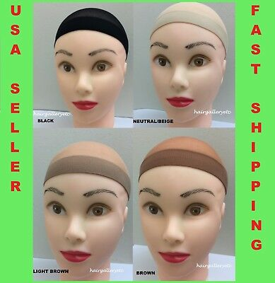 Stocking Wig Cap Wig Liner Weaving Cap Black Brown Neutral Nylon Stretch 2pc USA