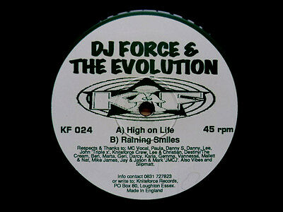 "DJ Force & The Evolution ‎– High On Life / Raining Smiles RARE 12"" Vinyl"