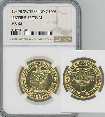 SWITZERLAND 1939 gold 100 Francs Lucerne Shooting  NGC MS64